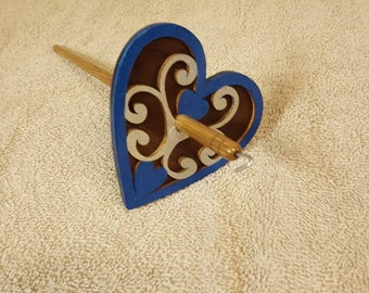 Hand Painted , Walnut and Poplar Heart drop spindle