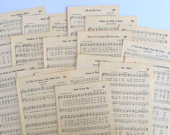 antique hymnal sheet music for paper crafting, junk journals, smash books, scrapbooking and collage