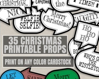 35 Any Color Christmas Party Printables, ink saving Christmas printables, print any cardstock color, xmas color party theme, cardstock diy