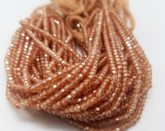3 mm , Peach Cubic Zirconia  Micro-Faceted , 13 Inch