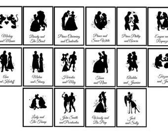 Disney Wedding Table numbers Disney couples Watercolor print Disney Table Numbers SET of 16 Prints Wedding Decor Disney love wedding decor