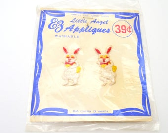 Vintage Easter Bunny Appliques, Set of Two Little Angel EZ  Appliques, Sew On Embroidered Rabbits, Washable, circa 1950s-1960s