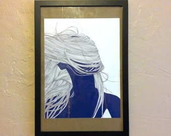 Hair Blowing in the Wind Line Drawing