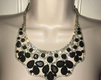 Black gold pave rhinestone bib statement necklace