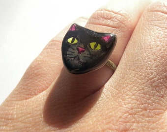 Black Cat Clay and Brass Ring