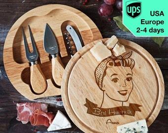 Best Housewife - personalised Cheese board, Laser Engraved custom serving board