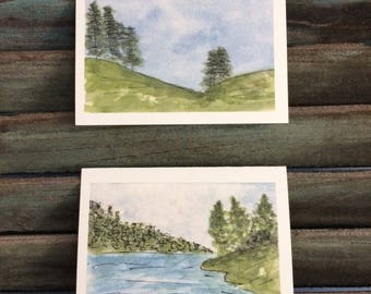 Watercolor Notecards, Landscape Art, Set Of Note Cards Cards, All Occasion Note Card, Greeting Card, Watercolor Art, Small Blank Note Cards,