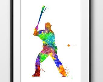 Baseball Player Print No3, Baseball Nursery Wall Art, Baseball Watercolor, Sport Wall Art, Baseball Decor, Sport Decor, Baseball Art (A0546)