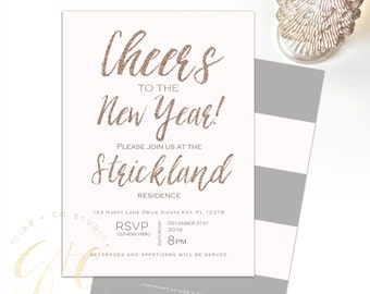 New Year's Eve Party invitation - Holiday Party invitation - Cheers to the New Year - blush - Rose Gold Glitter - Gibb + Co Studio - C080
