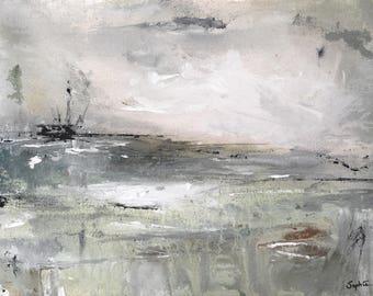 Original abstract painting ocean seascape modern contemporary acrylic art livingroom decor 'Hysteria'