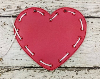 READY TO SHIP Heart Lacing Card, Quiet Game, Toddler Toy, Travel Toy, Party Favor