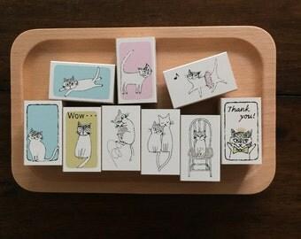 Kodomo No Kao Chignon rubber stamp- cats
