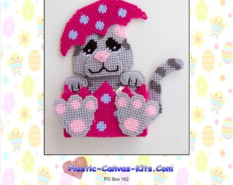 Easter Kitty Cat Treat Holder-Plastic Canvas Pattern-PDF Download