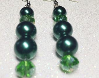 Dangle Earrings - Green Glass Beads - Green Faceted Glass Beads  - Free Shipping within the U.S.