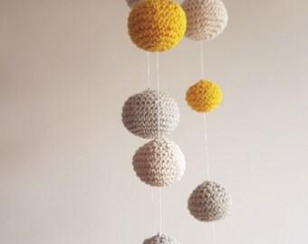 Baby Mobile, Crochet Ball Baby Mobile Hanging, Mobile for New Bo, knit Mobile - Grey/Yellow/Cream Ball's Mobile Boys/Girls room decoration