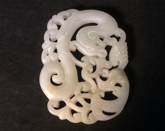 Fine Carved Chinese Jade or Jadeite Pendant Medallion Zodiac Dragon Serpent