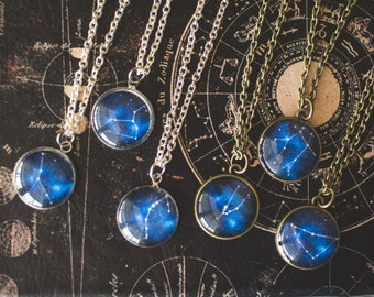 Zodiac Constellation Necklace, Zodiac Necklace, Zodiac Jewelry, Space Jewelry, Birthday Jewelry, Blue