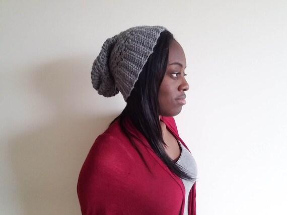 Grey Crochet Slouch Hat - Gift for Women - Unisex Cozy Hat - Cool Gift for Girfriend - Crochet Hats for Women - Gift for Boyfriend