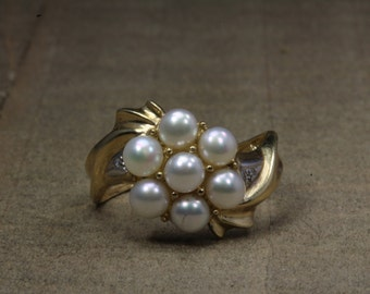 Estate, 14K Yellow Gold Pearl Cluster Ring With Accent Stones