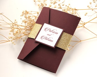 Burgundy Wedding Invitation, Burgundy and Gold Glitter Pocket Wedding Invitation, Marsala Invitation, Wine Invitation, Glitter Invitation