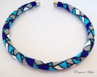 Blue geometric crochet necklace / Crochet jewelry / Beaded stained-glass pattern / Bead rope beaded necklace / Gift for her