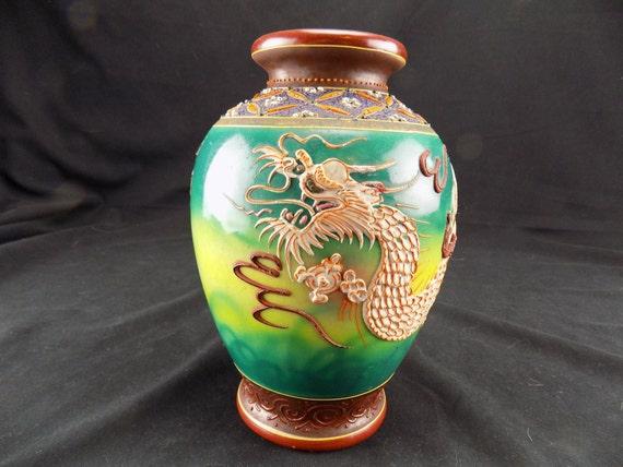 Special Vintage Pre 30's Japanese Dragonware Vase Moriage Yellow, Green, Maroon,