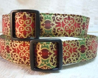 Fancy Dog Collar / Red Dog Collar / Gold Dog Collar / Fashion Dog Collar / Dog Present  / Dog Gift / Elegant Dog Collar