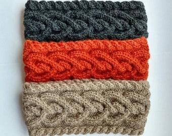 Wool/Alpaca Headband, Women Ear Warmer, Braided Warm Headband, Heart Cable Knit Headband, Headwrap, Light Brown, Grey, Orange EarWarmer