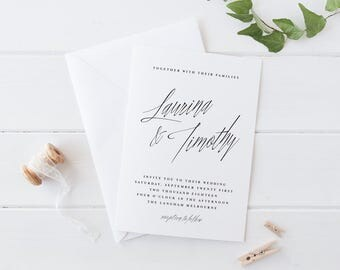 Printable Wedding Invitation Set, Black and White Calligraphy Wedding Invitation Set