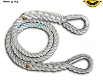 "1/2"" 3 Strand Mooring Pendant 100% Nylon Premium Rope Line with 2 Thimbles (TS 6400 lbs.) Lengths: 6' - 8' - 10' - 12' - 15'.  Made in USA"
