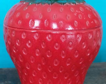 Glass Strawberry Sugar Bowl by Hazel Atlas Glass Company.