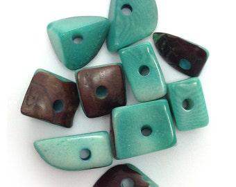 10 tagua triangles, medium, aqua, 15mm, 10 pieces, tagua beads, square beads, tagua pieces, exotic beads