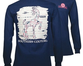 Southern Couture, like Simply Southern,   SC Classic Paisley Giraffe -Navy short sleeve or long sleeve tee shirt