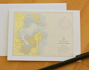 "Scituate Harbor Map Note Cards (1954) 4.25""x5.5"""
