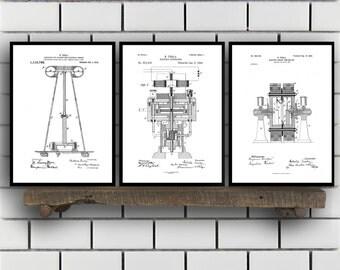 Tesla Patent Set of THREE, Tesla Electrical Transmitter Patent, Tesla Poster, Tesla Transmitter Print, Tesla Patent, Tesla Inventions, SP122