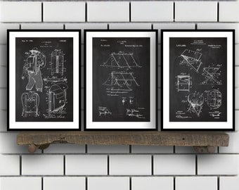 Camping Patent Prints, Camping Set of THREE, vintage Camping Invention Patent, Camping Poster, Camera Print, Camping, Camping Tent SP270