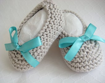 Hand Knit Cotton Baby Slippers/Booties/Socks