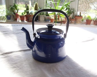 Blue Enamel Tea Kettle  Made in Poland 3 cups Vintage