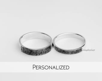 Fingerprint | Fingerprint Ring | Personalized Fingerprint Band | Dainty Fingerprint Rings