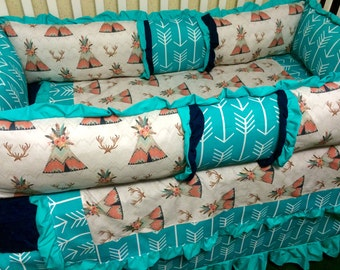 Teepee , Arrows, and Deer Antlers- Coral and Teal/Aqua Custom Baby Bedding, Baby girl, crib bedding