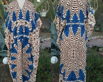 Blue and Brown Polynesian Batik Boho Hippie Beach Caftan Swim Cover Size L / XL