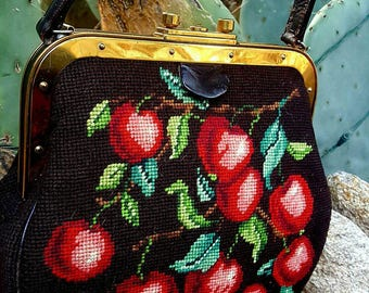 Hand Done Needle Point with Bright Red Cherries, Brass Hardware and Brown Leather Vintage Handbag with Leather Handle