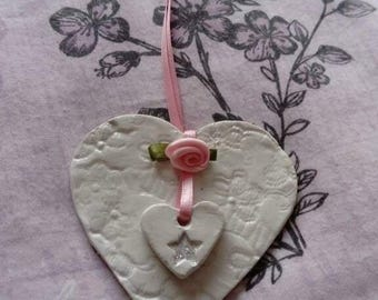 Handmade unique keepsake hanging clay heart gift for mum,sister, friend, auntie,nan, rose, star,
