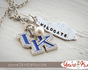 University of KY Necklace, Hand Stamped Kentucky Necklace, Hand Stamped Kentucky Jewelry, KY Jewelry, KY Necklace, University of Kentucky