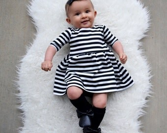 Stripe Dress -  Toddler Dress - Baby Dress - Girls Dress - Toddler Outfit - Baby Outfit - Baby Gift Idea - Toddler Clothes - Baby Girl Dress