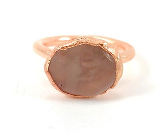 Raw Stone Ring, Rose Quartz Ring, Raw Crystal, Electroformed Ring, Copper Ring, Pink Gemstone, Fertility, Rough, Healing Crystal Ring