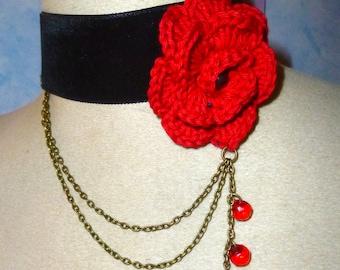 the red rose black velvet choker necklace