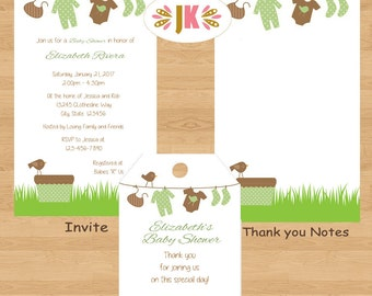 Clotheline Baby Clothesline Baby Shower Nuetral Printed Invitations
