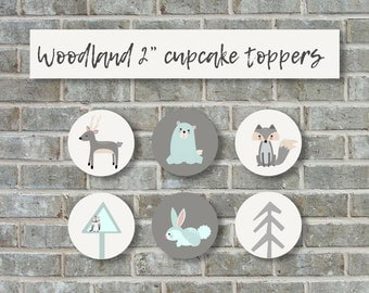 BABY SHOWER CUPCAKE toppers, woodland baby shower cupcake toppers, Instant download, woodland baby shower decorations
