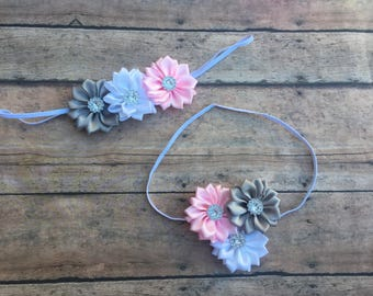 Baby Girl Headband - Flower headband - newborn headband - thin elastic headband - Newborn girl headband - girl headband - newborn baby girl